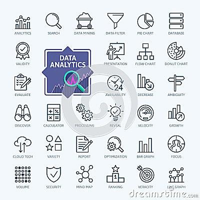 Data analysis, statistics, analytics - minimal thin line web icon set. Outline icons collection Vector Illustration