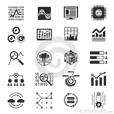 Stock Illustration Data Analytic Silhouette Icons Monochrome Vector Illustration Image45372337