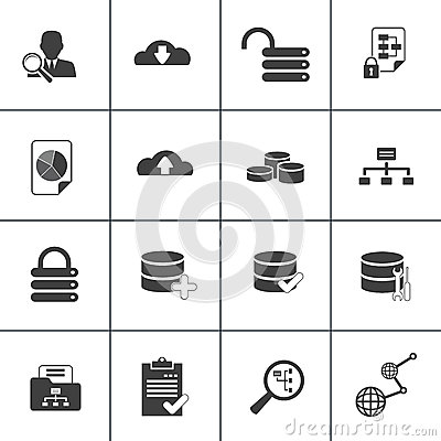 Data base analysis and development web icon