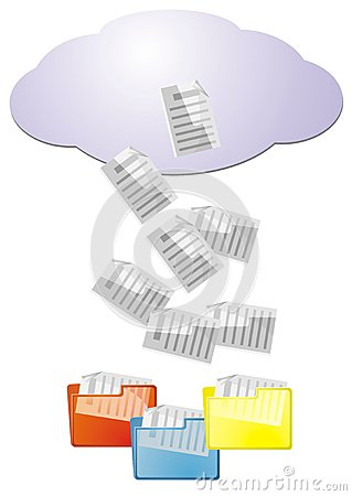 Data from cloud computing into file folders