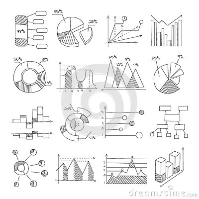 Free Data Graphic Representation Charts Of Different Types Hand Drawn Design Templates In Pencil Monochrome Style Stock Photography - 88803462
