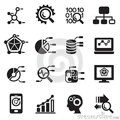 Data Mining, Database, Data Analysis Icons Set Stock ...