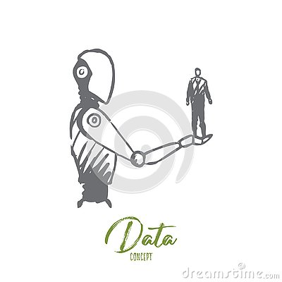 Free Data, Robot, Technology, Machine, Intelligence Concept. Hand Drawn Isolated Vector. Royalty Free Stock Photo - 130811855