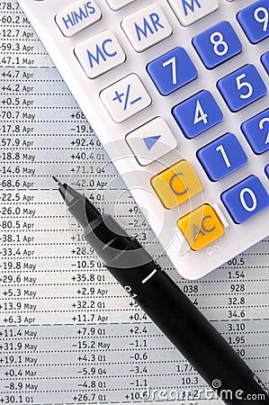 Data sheet, pen and calculator