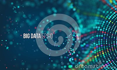 Data sorting flow process. Big data stream futuristic infographic. Colorful particle wave with bokeh Vector Illustration