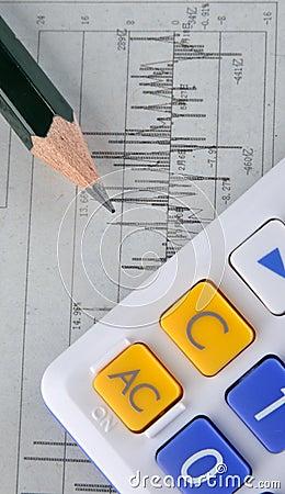 Data statistic graph, pencil and calculator