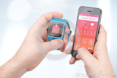 Data synchronization of health book between smartwatch and smart Stock Photo