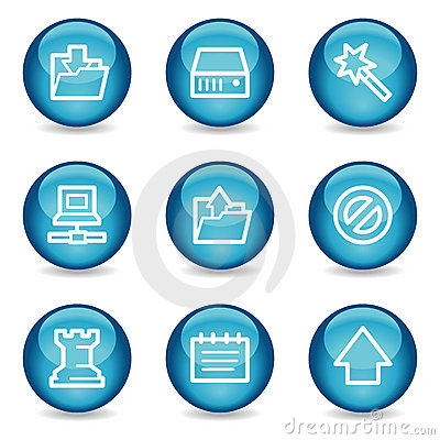 Data web icons, blue glossy sphere series