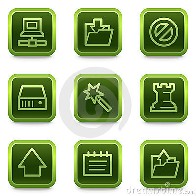 Data web icons, green square buttons series