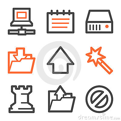 Data web icons, orange and gray contour series