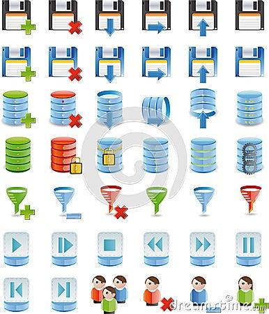Database details icon set of 42 icon`s