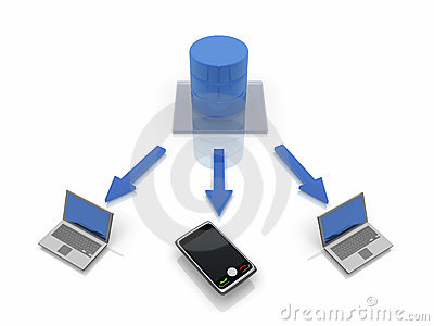Database Network Concept With mobile devices