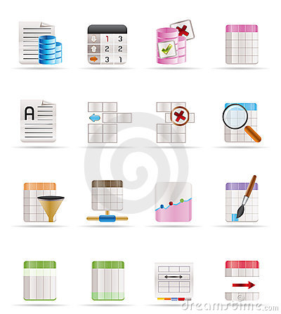 Database and Table Formatting Icons
