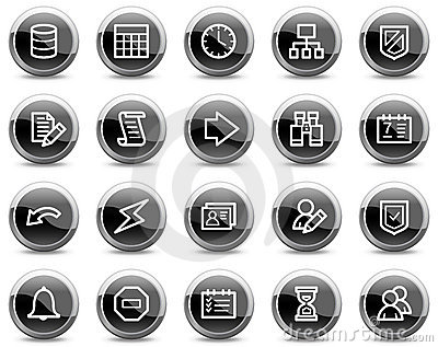 Database web icons, black glossy circle buttons