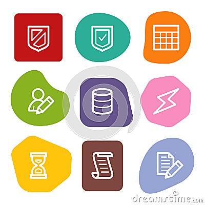 Database web icons, colour spots series