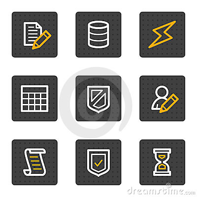 Database web icons, grey buttons series