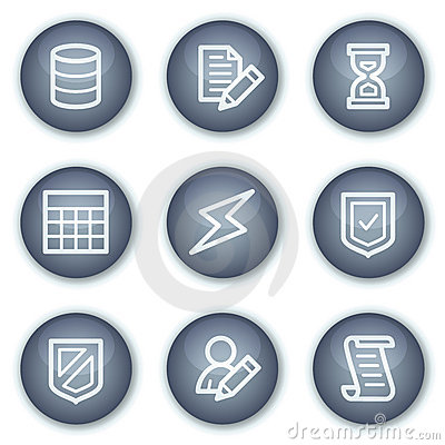 Database web icons, mineral circle buttons series