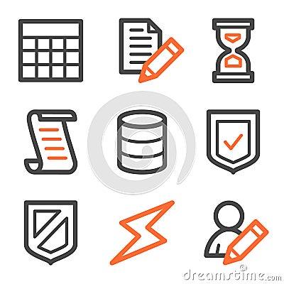 Database web icons, orange and gray contour series