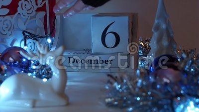 6th December Date Blocks Advent Calendar stock video footage