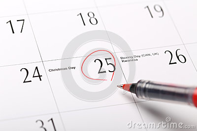 A date circled on a calendar