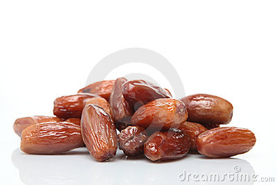 Date Fruits on White