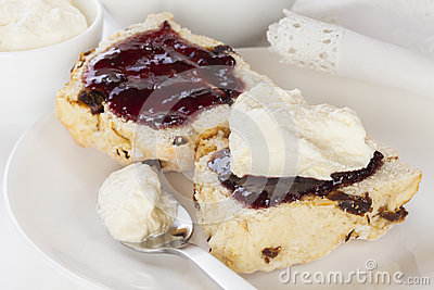Date Scone with Jam and Cream