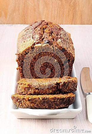 Date and walnut tea cake