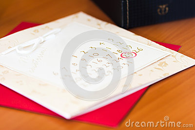 Date of a wedding circled on a calendar