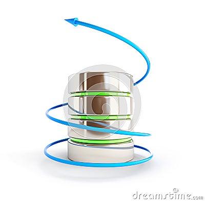 Datenbankpfeil in einer Spirale
