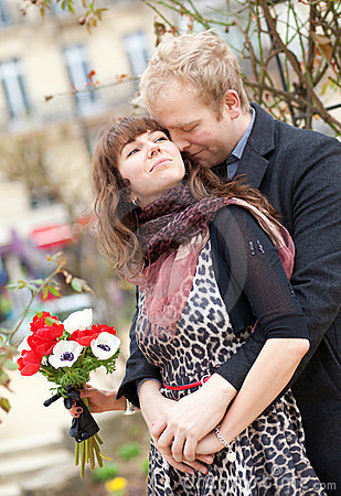 Dating couple with beautiful bright anemones