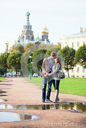Dating couple near Church of the Savior on Blood