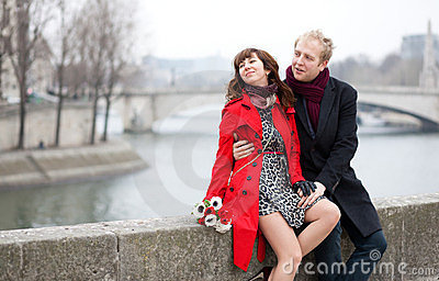 Dating couple in Paris at winter or spring