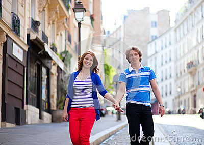Dating couple walking on Montmartre