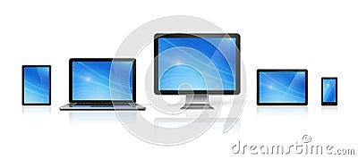 Dator, bärbar dator, mobiltelefon och digital minnestavlaPC