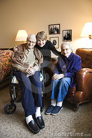 Daughter with elderly mother and father.