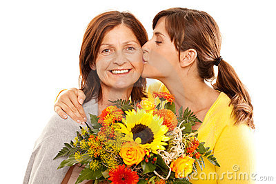 Daughter kissing her mother