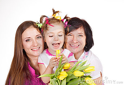 Daughter, mother and grandmother