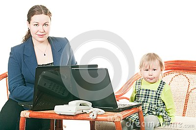 Daughter and mother with laptops