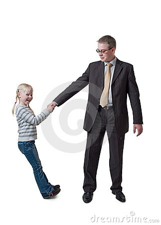 Daughter pulls father for hand