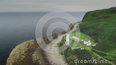 Davaar lighthouse closeup aerial shot, Scotland stock footage