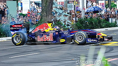 David doing donuts in Red Bull Racing F1 car Editorial Photography