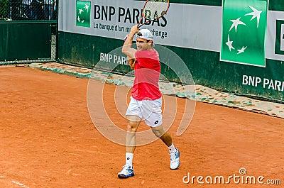David Ferrer practice, Roland Garros 2014