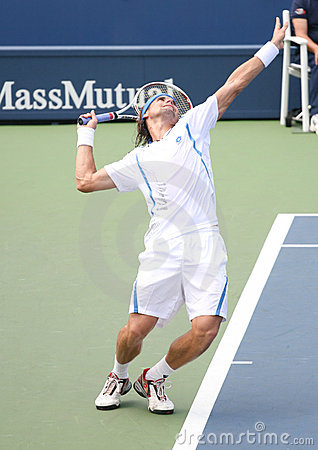 David Ferrer Serving at the 2008 US Open Editorial Photo