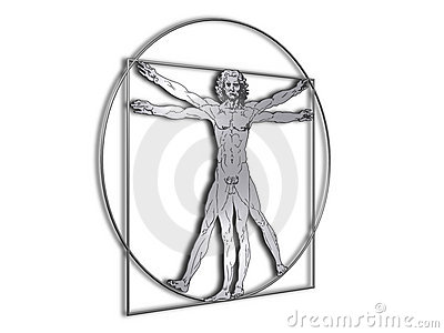 DaVinci Vitruvian man in shiny metal Editorial Stock Photo