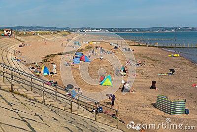 Dawlish Warren beach Devon England on blue sky summer day Editorial Image