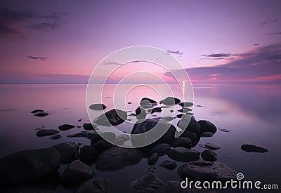 Dawn over the ocean.