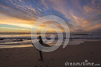 Dawn Colors Surfer Ocean Editorial Stock Photo