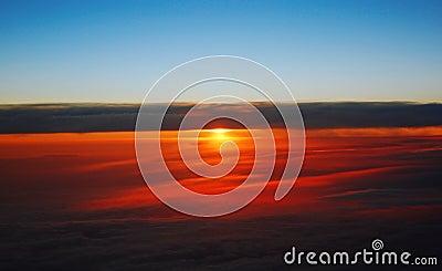 Dawn in a plane.