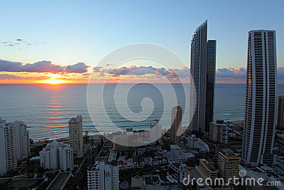 Ocean sunrise coastal city aerial image Editorial Stock Photo