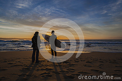 Dawn Surf Persons Silhouetted Editorial Photography